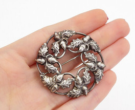 DANECRAFT 925 Sterling Silver - Vintage Acorn Floral Wreath Brooch Pin -... - £30.45 GBP