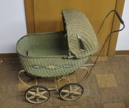 Antique Vintage Wicker Doll Buggy Carriage Childs Toy - $50.60