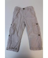 K4716 Boys OLD NAVY Tan Straight Leg ROLL UP CARGO PANTS Toddler 2T - $19.29