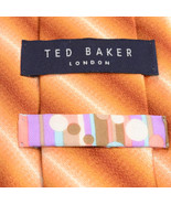 NEW TED BAKER 59L Light Orange Rust Copper White Striped Silk Mens Neck Tie - $89.10