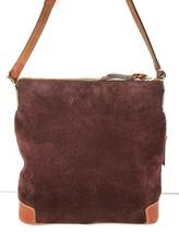 Dooney & Bourke Maroon Suede with Brown Leather Trim Shoulder Bag - $48.49