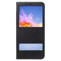 Dual View Window PU Leather Cell Phone Case for Huawei Honor 7X - Black - $7.65