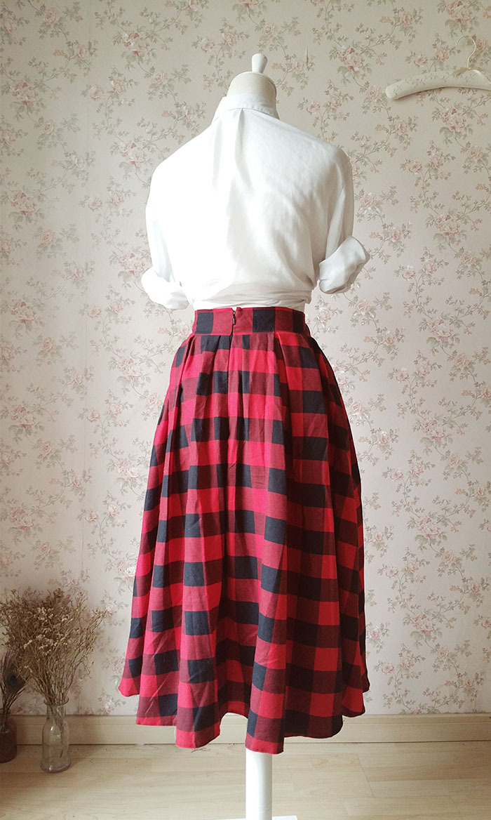 Women RED Midi PLAID Skirt Pleated Long Retro Plus Size Plaid Skirt with Pockets