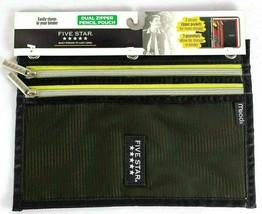 Mead Five Star Black Yell Dual Zipper 3 Anneau Binder Pencil Pouch School