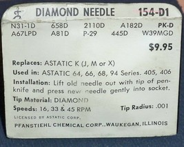 PHONOGRAPH NEEDLES (pair) for ASTATIC J K M X ASTATOC N31-1D N31S 154-D1 (2) image 2