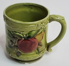 Geo Z Lefton 3747 Avocado Green Embossed Fruit Grape Cup Mug Retired Unique - $15.67