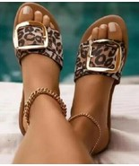 Womens Leopard Print Large Buckle Accent Flat Slip On Slide Sandals Summ... - $18.56