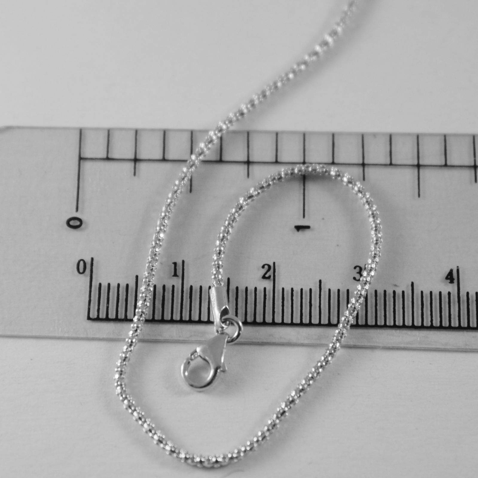 18K WHITE GOLD CHAIN MINI BASKET ROUND MESH 1 MM WIDTH 15.75 INCH MADE IN ITALY