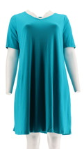 Isaac Mizrahi Essentials Pima Cotton Dress Riviera Teal M NEW A306544 - $24.73