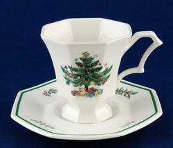 Nikko Christmastime Cup & Saucer Set Japan Black Mark Christmas Tree - - $7.99