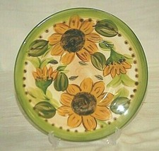 "Provincial Sunflowers by Tabletops 8"" Salad Plate Yellow Black Sunflowers - $16.82"
