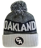 Oakland CA Patch Ribbed Cuff Knit Winter Hat Pom Beanie (Black/Gray Patch) - $11.95
