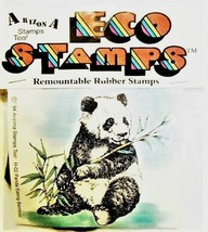 Eco Stamps Remountable Rubber Stamp Panda Eating Bamboo #H-2