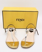 NIB Fendi Isabel Metallic Silver Gold Leather Thong Sandals New  10 40  ($495) - $285.00