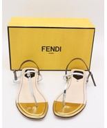 NIB Fendi Isabel Metallic Silver Gold Leather Thong Sandals New  10 40  ... - $285.00