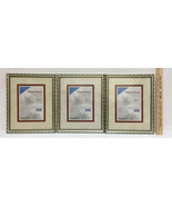 Picture Frames Set 3 8x10 Bamboo Design Antiqued Gold Metal Glass Pane  - $19.75