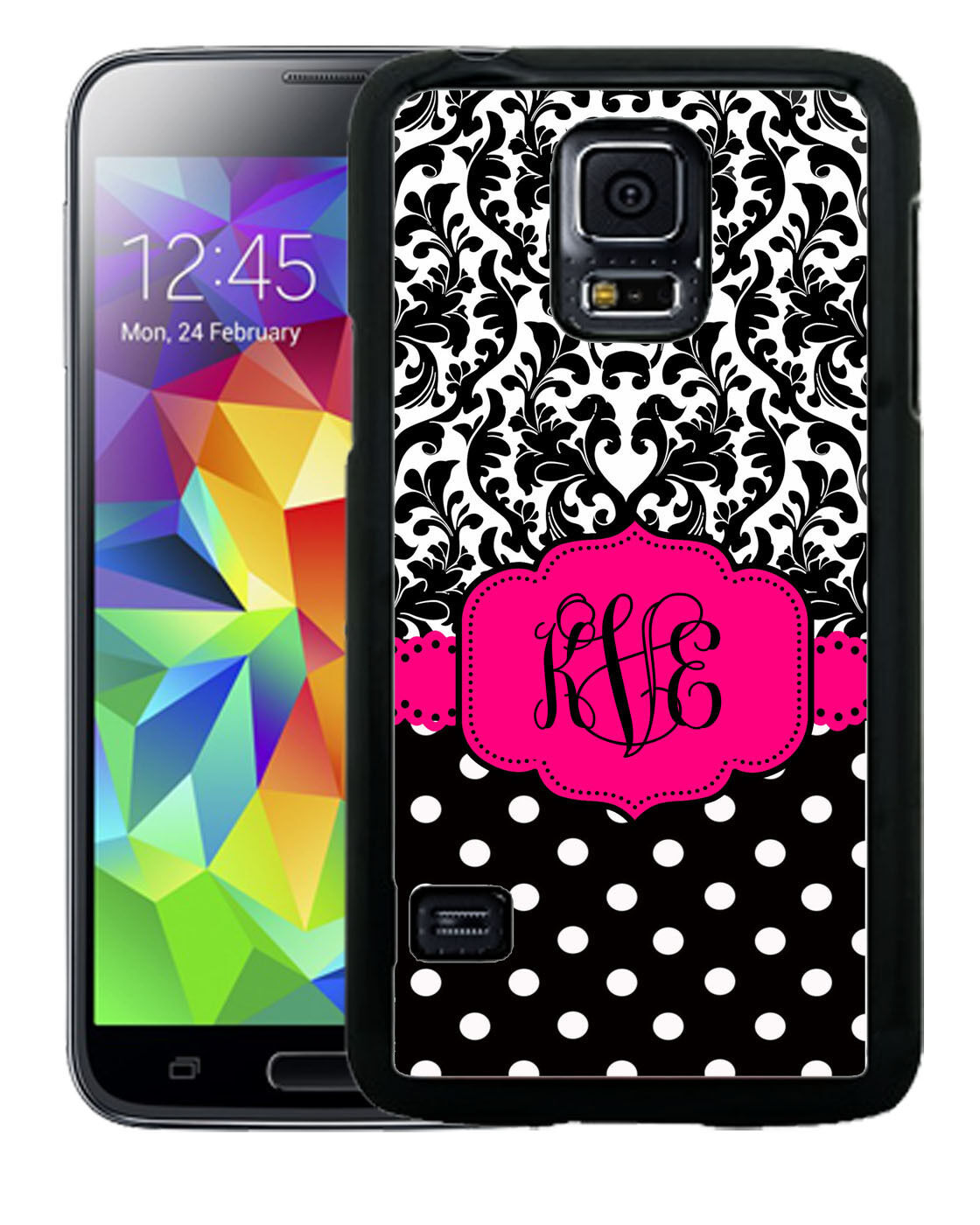MONOGRAMMED RUBBER CASE FOR SAMSUNG S8 S7 S6 S5 EDGE PLUS HOT PINK BLACK DAMASK