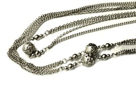 Silver Strand Silver Beads Necklace Costume Fashion Chain Vintage - $19.57