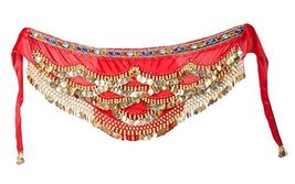 Golden Coins Belly Dance Skirt Wrap & Hip Scarf, Gift Idea - $20.82