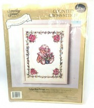 Something Special Tulips Bear Cross Stitch Kit 50709 Vtg Cottage Core - $27.67