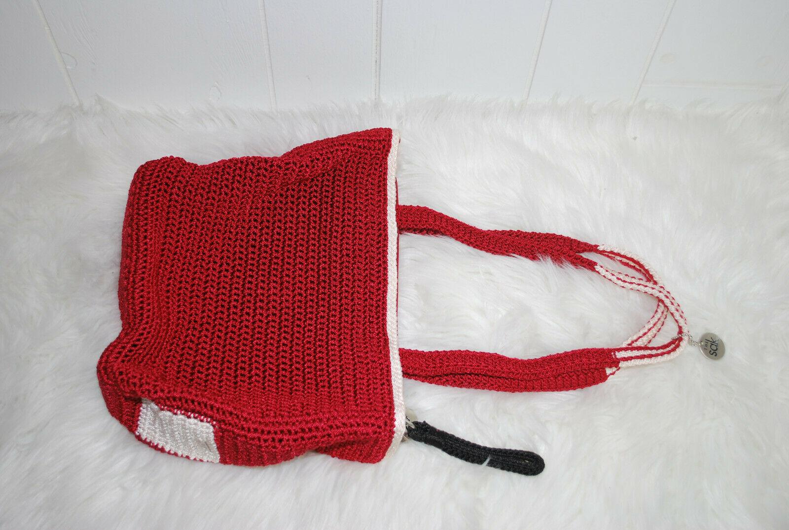 The Sak Womens Handbag Purse Shoulder Bag Crimson Red White Black Keychain Boho