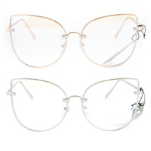 SA106 Womens Flat Panel Clear Lens Bat Shape Cat Eye Glasses - $12.95