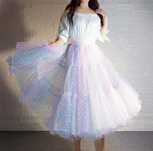 Women Girl Rainbow Long Tulle Skirt Polka Dot Rainbow Skirt Holiday Skirt Outfit image 2