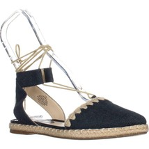 Nine West Unah Pointed Toe Flat Lace Up Sandals, Navy - $42.39