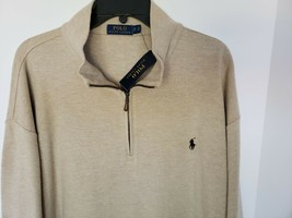 Polo Ralph Lauren Men's HALF-ZIP Mocha Heat Long Sleeve Sweater Size 2XB Nwt - $92.57