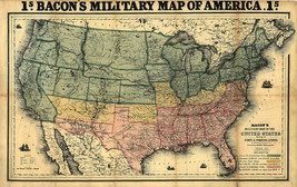 Bacon's 1862 Military US Civil War Map Shewing Forts & Fortifications Wall Print - $13.00+