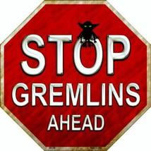"Stop Gremlins Ahead Halloween Humor Metal Sign 12"" Wall Decor - DS - $23.95"