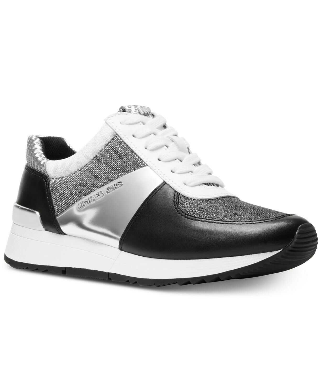 Michael Kors Women's Allie Trainer Leather Metallic Sneakers Shoes Black Silver