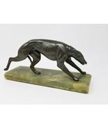 Vintage Art Deco Spelter Greyhound Sculpture on Onyx Base Broken Leg - $79.15