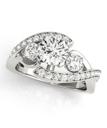 Three Stone Bridal Engagement Ring 14k White Gold Plated 925 Silver Roun... - $75.95