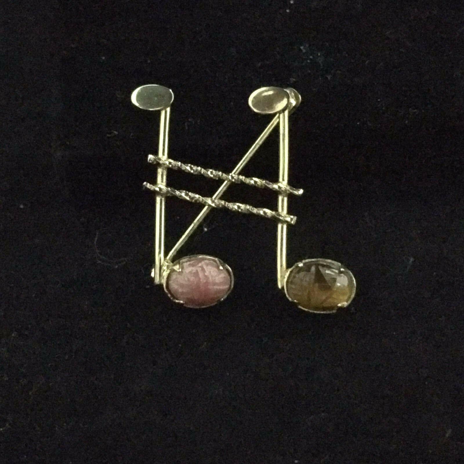 1950s D'Abros 12K GF Semiprecious Gem Scarab Beetle Egyptian Revival Jewelry Lot