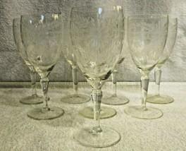 Set of 6 Fostoria Crystal Floral Greek Key Wine Glasses - $64.35