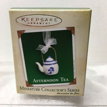 2005 Afternoon Tea #3 Mini Hallmark Christmas Tree Ornament MIB w Price Tag H7 - $16.34