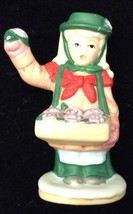 Vtg Lefton Girl Selling Flowers Colonial Village Christmas Figurine 06547 - $12.81