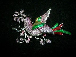 Fashion Paradise Bird Rhinestone Crystal Silver Plated Brooch Pin Jewelr... - $9.00