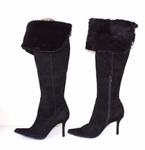 Black 100% Real Leather Suede NINE WEST Over Knee Stiletto Heel Boots UK... - $107.31