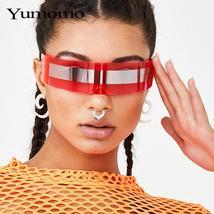 Fashion Siamese Futuristic Wrap Around Monob Costume Sunglasses Luxury Brand Des image 2