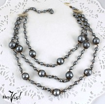 Triple Strand 50s Vintage Necklace - Pearly Blue Dimpled Glass Beads - H... - $30.00