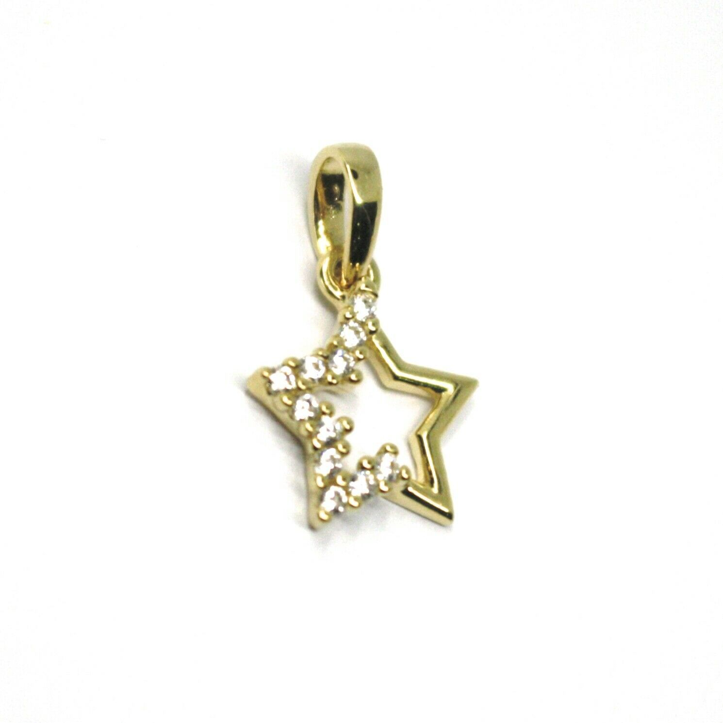 18K YELLOW GOLD MINI STAR PENDANT 10mm DIAMETER, CUBIC ZIRCONIA, SOLID SMOOTH