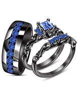 Sapphire Trio Set 14k Black Gold Over His & Her Matching Wedding Engagement Ring - $137.75