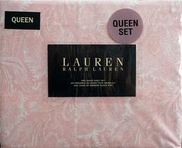 Ralph Lauren Pink Paisley on White Sheet Set Queen - $99.99