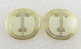 "LAUREL BURCH ""Moon Tiger"" White Grey Enamel Gold-Tone EARRINGS - FREE SH... - $27.00"