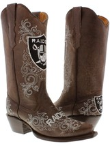 Womens NFL Collection Oakland Raiders Brown Leather Western Cowboy Cowgi... - €176,16 EUR