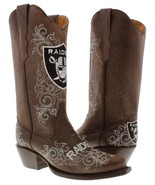 Womens NFL Collection Oakland Raiders Brown Leather Western Cowboy Cowgi... - €160,87 EUR