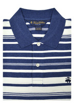 Brooks Brothers Blue White Striped Slim Fit Linen Polo Shirt Sz 2XL XXL 3168-7 - $54.69