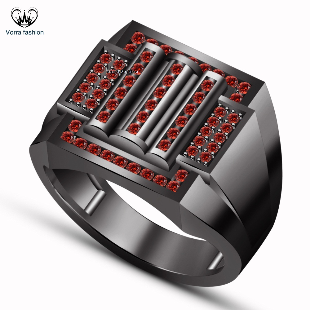 Primary image for Round Cut Red Garnet Black Gold Finish Sterling Silver Men's Band Wedding Ring